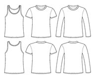 Singlet, T-shirt and Long-sleeved T-shirt template Stock Images