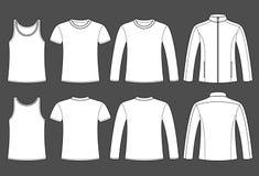 Singlet, T-tröja, Lång-muff T-tröja- och omslagsmall royaltyfri illustrationer