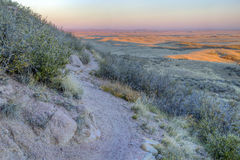 Singletrack bike trail and prairie Royalty Free Stock Photos
