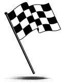 Singola bandierina Checkered (che fluttua sopra) Fotografia Stock Libera da Diritti