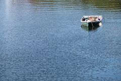 Singola barca a remi su acqua blu Fotografia Stock