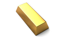 Singola barra di oro su fondo bianco isolato Fotografia Stock
