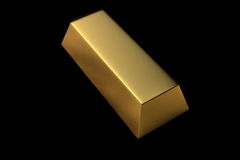 Singola barra di oro su fondo nero isolato Fotografia Stock Libera da Diritti