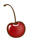 Singola ciliegia rossa con il gambo Immagine Stock Libera da Diritti