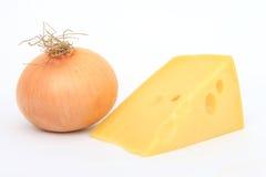 Singola cipolla con formaggio svizzero Fotografie Stock Libere da Diritti