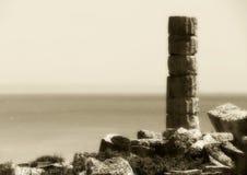 Singola colonna del greco antico, tonalità d'annata Fotografia Stock