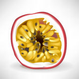 Singola fetta di passionfruit Immagini Stock