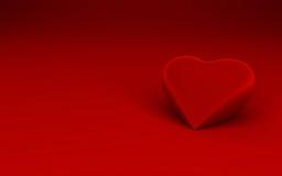 Singola figura del cuore su priorità bassa rossa Immagini Stock