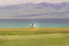 Singola guida del cavaliere del cavallo dal lago Kol di canzone immagine stock
