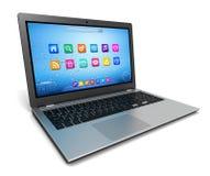 Singola illustrazione 3d del computer portatile illustrazione di stock