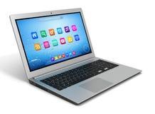 Singola illustrazione 3d del computer portatile Fotografie Stock Libere da Diritti