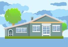 Singola illustrazione della casa nel vettore piano Immagini Stock