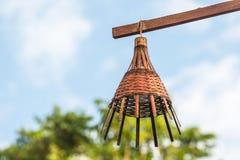 Singola lampada del rattan Fotografia Stock