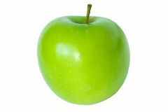 Singola mela verde isolata su bianco Fotografie Stock Libere da Diritti