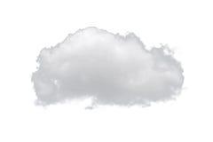 Singola nuvola bianca della natura isolata su fondo bianco Fotografia Stock Libera da Diritti