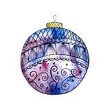 Singola palla blu di Natale su fondo bianco illustrazione di stock