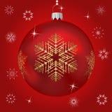 Singola sfera rossa dell'albero di Natale Immagine Stock
