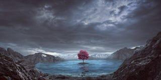 Singoli albero e lago Fotografia Stock Libera da Diritti