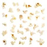 Singoli pezzi del popcorn isolati Fotografia Stock