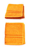 Singolo asciugamano del tessuto spugna isolato Fotografie Stock