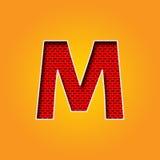 Singolo carattere m. Font nell'alfabeto arancio e giallo di colore illustrazione di stock