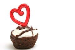Singolo cuore del morso del brownie Fotografia Stock