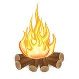 Singolo fuoco di accampamento isolato Fotografia Stock Libera da Diritti