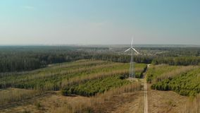 Singolo generatore eolico con l'elica tre-a lame girante installata nella foresta in chiaro tempo soleggiato archivi video
