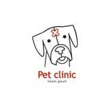 Singolo logo con un cane fatto nella linea moderna vettore di stile Fotografie Stock