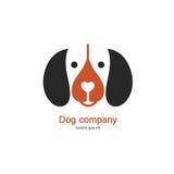 Singolo logo con un cane fatto nello stile piano moderno Logo o etichetta per la vostra società isolata su fondo Immagine Stock