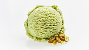 Singolo mestolo del gelato verde del pistacchio fotografie stock
