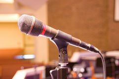 Singolo microfono Fotografie Stock