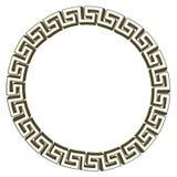 Singolo oro chiave greco del cerchio Isolato su bianco Illustrazione Fotografia Stock