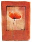 Singolo papavero dell'acquerello artistico Immagini Stock