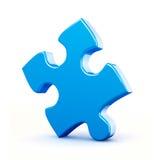 Singolo pezzo blu di puzzle isolato Fotografia Stock