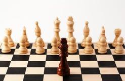 Singolo pezzo degli scacchi che sta contro o piombo Fotografia Stock