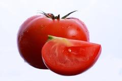 Singolo pomodoro isolato su fondo bianco Fotografie Stock