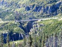 Singolo ponte sospeso parteggiato dell'Alaska immagini stock