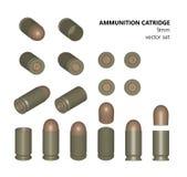 Singolo richiamo una pallottola da 9 millimetri su un fondo bianco Royalty Illustrazione gratis