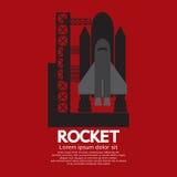 Singolo Rocket Taking Off On una missione Immagini Stock Libere da Diritti