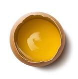 Singolo tuorlo d'uovo fresco su fondo bianco fotografia stock libera da diritti