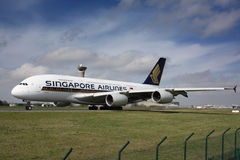 A380 Singopore Airlines. PARIS - MAY 29: Singapore Airlines Airbus A380 taxis to take off on May 29, 2010 in Paris, France. The A380 is currently the largest Stock Photo