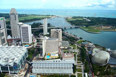 Singpore Skyline. A wide angle view of the city's business district from high above.Singapore royalty free stock images