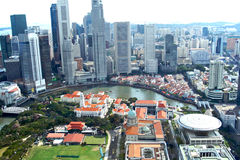 Singpore skyline. A wide angle view of the singapore city's business district from high above stock photography