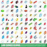 100 sings icons set, isometric 3d style. 100 sings icons set in isometric 3d style for any design vector illustration royalty free illustration