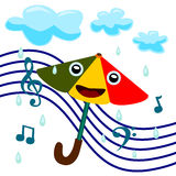 Sings in the rain. Umbrella with a smiling face singing in the rain stock illustration