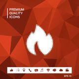 Fire, flame - halftone logo. Sings and symbols. Graphic elements for your design Royalty Free Stock Images