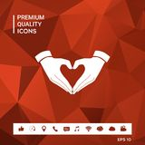 Heart shape made with hands. Sings and symbols. Graphic elements for your design Royalty Free Stock Photography