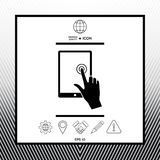 Touch screen tablet with click hand. Sings, symbols - graphic elements for your design Stock Photography