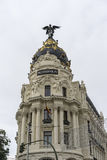 Singular building of street alcala in the center of the city of. Madrid in spain Stock Photo